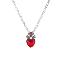 Wholesale Necklace Teen - Wholesale-Christmas Evie Necklace Descendants Red Heart Crown Necklace Queen of Hearts Costume Fan Jewelry Pre Teen Gift for Her