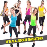 Wholesale Training Bra Sizes - Hot Shapers Neoprene Women Stretch Slimming Vest Plus Size Control Bra Body Shirt Waist Training Corsets Shapewear Sweating Tops