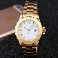 Wholesale Yellow Face Mens Watch - hhot sale luxury mens watch New top brand fashion men designer Simple design white face automatic calendar full stainless steel clock