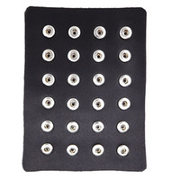 Wholesale Earring Displays Stand - 24pcs Black Genuine Leather 12mm 18mm Snap Button Display Ginger Snaps Show Board Fit 18mm Snap Jewelry