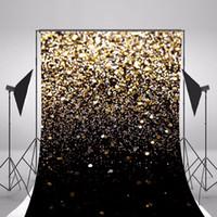 fundo prateado venda por atacado-5x7ft Ouro Prata Glitter Photo Backdrop Vinil Fundo Preto para o Casamento Crianças Crianças Estúdio Bokeh Fundos Fotográficos