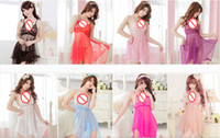 Wholesale sex long gown - Brand New Sling Transparent Silk Long Skirt Sexy Night Gowns See-through Clothing Plus Size Babydoll Sexy Lingerie Sex Clothes with G-string
