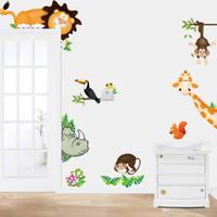 singe décor d'enfants achat en gros de-Stickers muraux belle Animal Park girafe singe PVC eau preuve autocollant pour chambre d'enfant école maternelle décor à la maison amovible 6 h J R