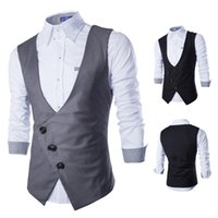 Wholesale New Gilet - Wholesale- 2016 New Arrival Dress Vests For Men Work Sleeveless Blazer Jaqueta Colete Masculine Gilet Homme Mens Formal Vest Waistcoat J565