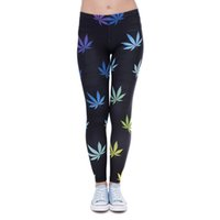 Wholesale hottest girl yoga pants for sale - Girl Leggings Lucky Leaf D Graphic Print Women Skinny Stretchy Gym Fitness Black Pants Yoga Spring Summer Autumn Soft Trousers Hot J41593