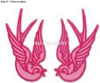 Wholesale Bird Pair - PINK SWALLOWS PAIR BIRD Tattoo Ink Chic Rock Punk Rockabilly iron on patch heavy metal Metal Core band Biker Vest badge