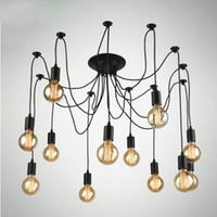 Wholesale Incandescent Fluorescent - Vintage Nordic Spider Pendant Lamp Multiple Adjustable Retro Pendant Lights Loft Classic Decorative Fixture Lighting Led Home