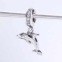 Wholesale Sterling Silver Hang Charms - Real 925 Sterling Silver Not Plated Dolphin Silver Hanging Charm CZ European Charms Beads Fit Pandora Snake Chain Bracelet DIY Jewelry