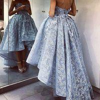 abendkleid hellgrau großhandel-Graceful Light Grey Lace Prom Dresses 2017 Schatz Backless High Low Abendkleider Saudi Arabisch Puffy Formal Party Dress Nach Maß