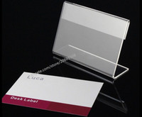 Wholesale Name Card Stand Holder - Acrylic T1.3mm Clear L Shape Table Sign Price Tag Label Display Stand Paper Promotion name Card desk frame label display holder 20pcs