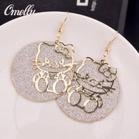 Luxo Olá Kitty 18K GP Dangle Ear Brinco Hollow Out Party Wedding Jewelry para Lay Girls Preço barato