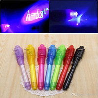Wholesale Uv Light Pens - Magic 2 in 1 UV Light Combo Creative Stationery Invisible Ink Pen Popular Random Color