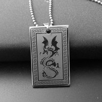 Square Dog Tags Colar Moda Mens Titanium Steel Dragon Design Pendant Atacado Jóias Free 50cm Ball Chains