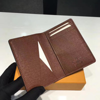 Wholesale Leather Card Purse - Excellent Quality Pocket Organiser NM damier graphite M60502 mens Real leather wallets card holder N63145 N63144 purse id wallet bifold bags
