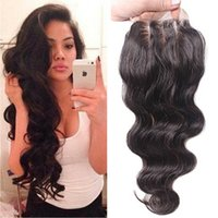 Wholesale Wavy Hair Part - Large In Stock Free Middle Three Part 4x4 Front Lace Closure Bleached Knots Body Wave Wavy Natural Color Lace Closure With Baby Hair