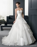 Wholesale Ruffle Yarn Red Black - 2017 New Detachable Beaded Strapless Sheath A Line Wedding Dresses Net Yarn Flounced Trailing Wedding Bride Chapel Wedding Dress Plus Size
