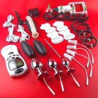 bdsm dişli şoku toptan satış-SıCAK Elektrik Çarpması Terapi Cihazı Çukurluğu Fincan Vakum Vantuz Sağlık Alet Makinesi BDSM Kölelik Dişli Ürünleri