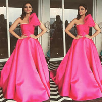 Wholesale Girls Simple Party Dresses - Hot Pink A Line Prom Dresses Strapless Satin Back Zipper Celebrity Party Dress Simple Custom Made Yong Girls Vestidos Cheap Evening Dress