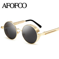 Wholesale Wholesale Gothic Men - Wholesale- AFOFOO Gothic Steampunk Mens Sunglasses Vintage Metal Men Coating Mirror Sunglasses Male Round Sun glasses Retro UV400 Shades