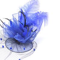 grampo livre cabelo hairpieces venda por atacado-Azul Birdcage Feather Fascinator Hat Handmade casamento Race Cocktail Hairpieces Hairpiece para senhora frete grátis
