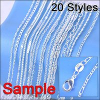 Wholesale Sterling Silver Link Chains - Necklaces Chains Jewelry Order Mix 20 Styles Genuine 925 Sterling Silver Link Necklace Set Chains+Lobster Clasps 925 Tag (20Pcs Lot)