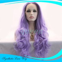 Wholesale Cheap Stylish Wigs - Cheap Beautiful Light Purple Color Wavy Synthetic Lace Front Wigs Stylish Heavy Density Heat Resistant Kanekalon Women Wigs