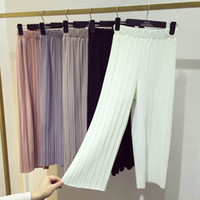 Wholesale wide leg corduroys - women wide leg legging calf length summer pant black white fashion pleated pant lady quality loose pants