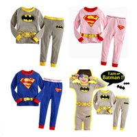 Wholesale Batman Cartoon Suits - Children Cartoon Pajamas Sets Spring Autumn Tops Pants Pyjamas Suits 2 pcs For Kids Fashion Boys Girls Cotton Superman Batman Home Underwear
