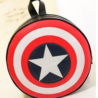 Wholesale free agent - Free Shipping Marvels The Avengers Captain America Shield Backpack Backpack Bag Student Bag Round Ends Agents of S.H.I.E.L.D.