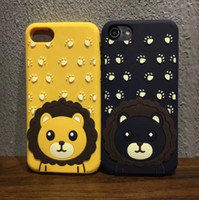 3D Cute lion animal Soft Silicone cell Case Gel Cover para iphone 7 7 Plus 6 6S Plus 6G goophone i7