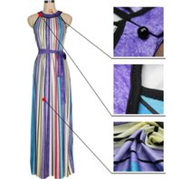 Wholesale Summer Rainbow Beach Dress - 2017 Bohemian dresses Rainbow Brazil Sexy sleeveless colorful stripe Women vintage summer dress Beach party casual Split long dresses