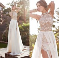 Wholesale Cheap Sexy Halter Wedding Dress - Cheap In Stock Summer Beach Wedding Dresses 2017 Vintage A-line Halter Backless Lace Floor Length High Split Bridal Gowns