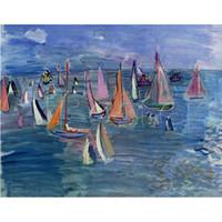 ingrosso vernici barche a vela-Dipinti ad olio di barca a vela Raoul Dufy arte moderna Riproduzione su tela Regatta dipinto a mano di alta qualità