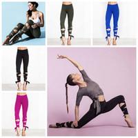 Wholesale Wholesale Wrap Pants - 4 Colors Fashion Woman Yoga Fitness Pants GYM Dance Ballet Tie Wrap Bandage ActiveTight Winding Leggings Trousers CCA6531 50pcs