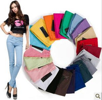 Wholesale Candy Colored Boots - Wholesale- Hot 2016 fashion sale!! Jeans Pants candy colored pencil pants skinny pants legging long trousers boot cut