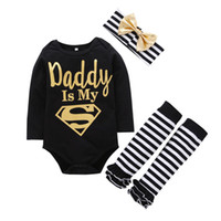 Wholesale Daddy Long Legs - 2017 Infant Baby Girls Daddy Letter Romper+Striped Leg Warmer+Headband 3pcs Outfits Set Newborn Baby Christmas Outfit