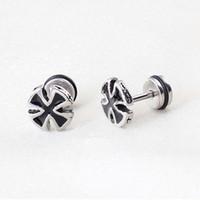 Wholesale Gothic Cross Earrings Men - Trendy Black Cross Stud Earring for Men Titanium Steel Earrings Silver Punk Gothic Ear Studs Ear Piercing Jewelry