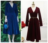 Wholesale Sexy Dress Expansion - 2016 new fashion runway women's velvet deep v-neck sexy long sleeve party swing dress with belt big expansion retro long dress SM 3 colors
