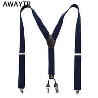Wholesale Clips For Braces - Wholesale- Fashion 4 Clip Suspenders Man's PU Leather Braces Adjustable Bretelles Y-Back Ligas Tirantes Gift for Father Husband 3.5*110cm