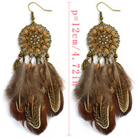 Wholesale Earrings Long Retro - idealway Bohemian Bronze Alloy Flower National Wind Long Personality Retro Drop Dangle Long Tassel Feather Hook Earrings