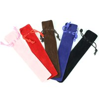 Wholesale Pen Rollerball Pcs - Wholesale-1 Pcs Velvet Pen Pouch Holder Single Pencil Bag Pen Case With Rope For Rollerball  Fountain Ballpoint Pen
