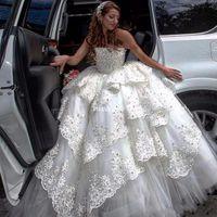 vestido de novia vestido de novia capas al por mayor-Vestidos de novia de lujo Puffy Ball vestido de abalorios pesados con gradas sin tirantes del vestido nupcial Tulle Layers 2017 por encargo Dubai vestidos de boda