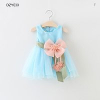 Wholesale Wholesale Cotton Frock For Kids - Summer Flower TUTU Dresses For Baby Girl Party Sundress Toddler Infant Floral Lace Princess Frock Kid Children Costume 0-3 Year
