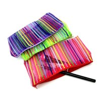 Atacado- Rainbow Women Portable Cosmetic Bag Moda Beleza Zipper Travel Make Up Bag Letter Maquiagem Case Pouch Toiletry Organizer Holder