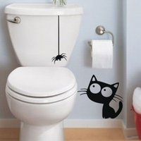 Wholesale Removable Wall Decals Spiders - D893 Funny Black Hanging Spider And Cat Bathroom Toilet Stickers DIY Vinyl Waterproof Wall Sticker For Tile Wallpaper Mural