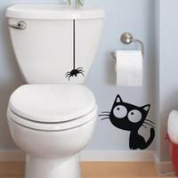 Badezimmer Schwarze Fliesen Großhandel D893 Lustige Schwarze Hängende  Spinne Und Katze Bad Wc Aufkleber DIY