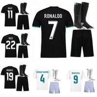 Wholesale Bags Xl - 17 18 real Madrid home white football club ronaldo leaving the black shirt bag modric football jersey 2017 2018 sports wear a football unifo
