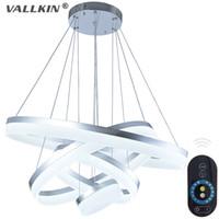 Wholesale Drop Pendant Lighting - VALLKIN® Dimmable 31 inch LED Ring Light Fixture Acrylic Pendant Light Modern LED Chandeliers Lighting White LED Lustre Suspension Drop Lamp
