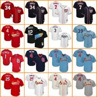 Wholesale Red Blue Ray - Cardinals baseball jerseys Yadier Molina Ozzie Smith Dexter Fowler Nationals Bryce Harper Turner Rays Longoria Kiermaier Wade Boggs jersey
