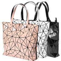 Wholesale Online Shopping Bags - Lattice geometry laser fashion black leather bags women's handbags leather handbag online shopping for women handbags